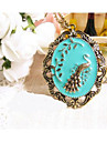 European Vintage Peacock Pattern Alloy Pendant Necklace(Blue,Green) (1 Pc)