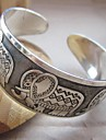Women's Elephant Pattern Silver Totem Cuff Bracelet