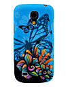 Blue Backgroud Butterfly and Flower Pattern Back Cover TPU Soft  Case for Samsung Galaxy S4 Mini I9190
