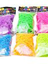 arc en ciel coloré bande de caoutchouc noctilucence de style de métier (600 pcs bandes + 24 pcs de C ou S clips)