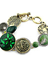 Fashion Golden Green Gem Flower Pattern Charm Bracelet(1 Pc)
