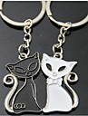 (A pair)Black and White Match Interesting High-grade Stainless Steel Keychain Symbol of Love