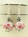 고전적인 분홍색 꽃 세라믹은 하락 귀걸이 (1 쌍)