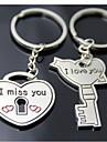 (Um par) chave e fechamento Interessante Alto grau de aço inoxidável Keychain Símbolo do amor