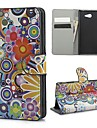 Colorful Flowers PU Leather Case Cover with Stand and Card Slot for Sony M2