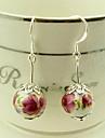 Boucles d'oreilles perle de baisse de céramique __gVirt_NP_NN_NNPS<__ Motif Fleur rouge vintage (1 paire)