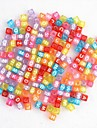 Rainbow Colorful Loom Rubber Band Color Macroporous Transparent Letter Beads 100 Pcs