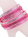 Leather Bracelet Multilayer Rose Rhinestone Bracelet