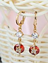 New Design Multicolor 18K Gold & AAA Swiss Diamond & 18K Gold Plated Female Drop Earrings ER0236