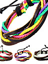vintage multicolor de couro wrap pulseira masculina (1 pc)