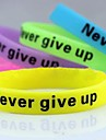 Lureme® Never Give Up Noctilucent Printing Silicone Wristband BraceletJewelry