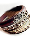 Retro Multilayer Carved Wood Bracelet