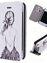 Cartoon Girl's Back Pattern Leather Full Body Case with Card Slot for iPhone 4/4S