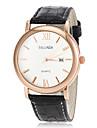 мужской деловой стиль золото кейс Кожаный ремешок кварцевые наручные часы (разных цветов)