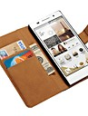 étui en cuir véritable pour Huawei Ascend un style p7 de portefeuille avec les détenteurs de cartes