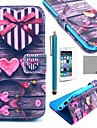 COCO FUN® Love Heart Pattern PU Leather Full Body Case with Screen Protecter, Stand and Stylus for iPhone 6S Plus/6 Plus 5.5