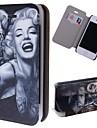 speciální zrna tetování dívky vzor pu celé tělo pouzdro s slotu pro paměťové karty pro iPhone 4 / 4s