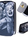 caso de corpo inteiro tatuagem dos desenhos animados padrão de Marilyn com suporte estojo de couro pu para Samsung Galaxy S3 i9300