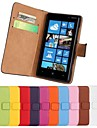 Solid Color Pattern Genuine Leather Full Body Case with Stand and Card Slot for Nokia Lumia 820 (Assorted Colors)