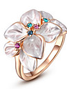 Roxi Exquisite Rose Golden Colorful Flower Plated With Aaa Zircon Statement Rings(1 Pc)