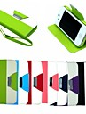 Leather Wallet Case Flip Leather Stand Cover with Card Holder for  iPhone 4/4S (Assorted Colors)