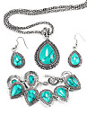 Fashion Flower Water Drop Jewelry Set(Earring+Necklace+Bracelet)(1 Set)