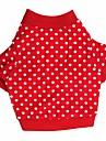 Gato Cachorro Camiseta Roupas para Caes Respiravel Pontos Polka Vermelho Ocasioes Especiais Para animais de estimacao