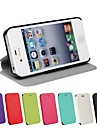 Solid Color Ultrathin PU Leather Full Body Cover with Stand for iPhone 4/4S (Assorted Color)