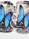 papillon bleu motif zircon incrusté retourner cas folio pour samsung 7392