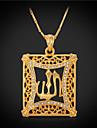 Diamant synthetique Cristal Strass Plaque or Pendentif de collier Collier Vintage - Carre Colliers Tendance Pour