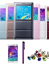 Screen Visible Smart Auto-Sleep PU Leather Case with Film,Dust Plug and Stylus for Samsung Note 4