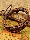 классические мужские коричневые переплетения пу кожаные браслеты