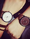 Couple\'s Wrist Watch Quartz Casual Watch Leather Band Analog Casual Fashion Black / Brown - Black Brown White / Black One Year Battery Life / SSUO 377