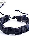double rangée pu hommes bracelet tissé (noir)