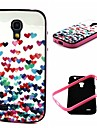 2-in-1  Many Colorful Heart Pattern TPU Back Cover with PC Bumper Shockproof Soft Case for Samsung S4 Mini I9190