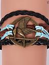 Eruner®Leather Bracelets Multilayer Alloy Mockingjay Charms Handmade Bracelet