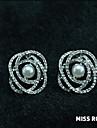 Earring Stud Earrings Jewelry Women Wedding / Party / Daily / Casual Pearl / Zircon / Gold Plated