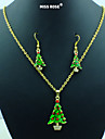 Miss ROSE®New Christmas!Red & Green Green Enamel Christmas Tree Necklace & Earrings Jewelry Set
