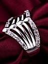 여성용 진술서 반지 크리스탈 스탈링 실버 모조 다이아몬드 사치 결혼식 파티 일상 캐쥬얼 의상 보석
