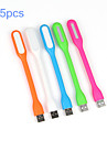 5pcs 1.2W Portable USB LED Light Flexible USB Powered LED Lamp for Laptops PC Notebooks(Random Color)