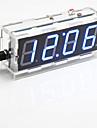 kit relogio de mesa de controle digital de luz display de sete segmentos de 4 digitos diy (azul claro)