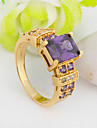 High Quality Fashion Male 10 KT Gold Purple Square Four Jaw Zircon Ring