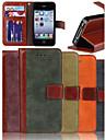 nubuck mat véritable vachette pu rabat en cuir carte portefeuille cas de fente avec support pour iPhone 4 / 4S