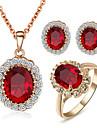 Γυναικεία Κρυστάλλινο Συνθετικό Diamond Πασιέντζα Οβάλ Κοσμήματα Σετ Κρύσταλλο, Cubic Zirconia, Προσομειωμένο διαμάντι κυρίες, Πετράδια σχετικά με τον μήνα γέννησης Περιλαμβάνω Κόκκινο Για / Cercei