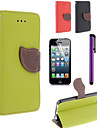 Leaf Design PU Leahter Case with Screen Protector Film And Stylus for iPhone 5C (Assorted Colors)