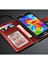 Case Kompatibilitás Samsung Galaxy Samsung Galaxy tok Kártyatartó Pénztárca Állvánnyal Flip Héjtok Tömör szín PU bőr mert S5