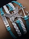 Fashion Vintage Western Butterfly Alloy Hand Knitting Cord Bracelet Christmas Gifts