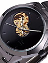 SHENHUA 남성 손목 시계 기계식 시계 중공 판화 오토메틱 셀프-윈딩 스테인레스 스틸 밴드 블랙