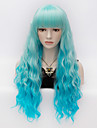 Synthetic Wig Kinky Curly With Bangs Blue Women\'s Carnival Wig Halloween Wig Very Long Synthetic Hair