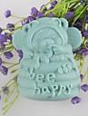 urso feliz moldes de sabao em forma de bolo de chocolate fondant molde de silicone abelha, ferramentas de decoracao bakeware